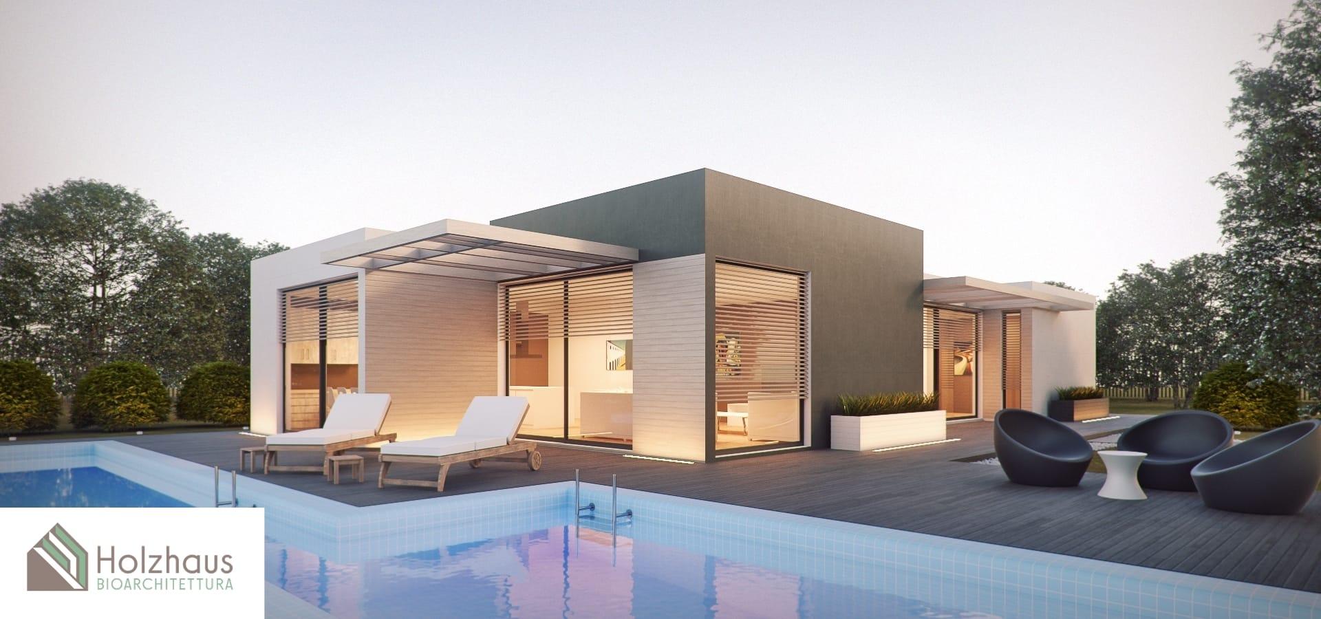 Soluzione in legno a un piano con open space e piscina esterna di Holzhaus Bioarchitettura
