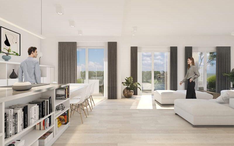 Zona living di una residenza costruita in legno a Vidigulfo