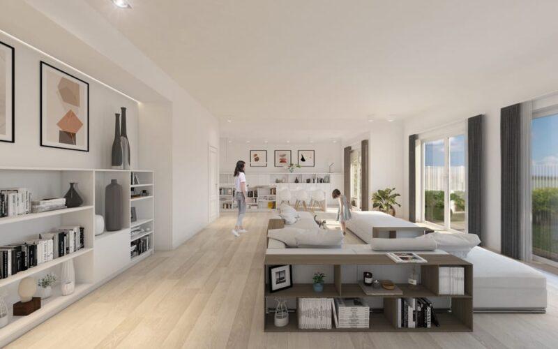 Open space zona living di una casa in legno di Holzhaus Bioedilizia