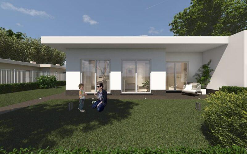 Parte esterna di una casa moderna in legno con giardino